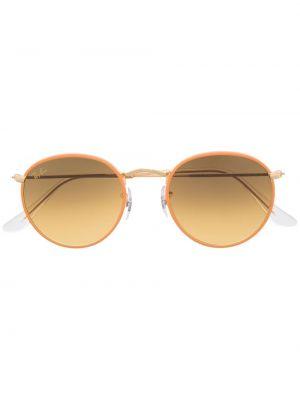 Оранжевые солнцезащитные очки круглые металлические Ray-ban
