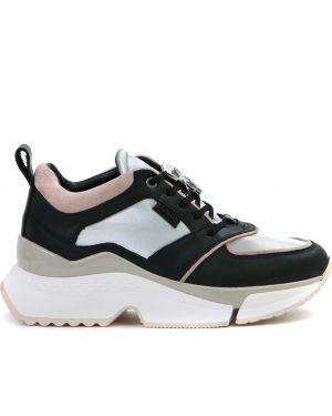Кожаные кроссовки на платформе замшевые Karl Lagerfeld