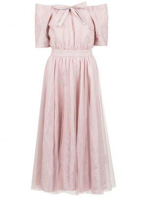 Хлопковое розовое платье с открытыми плечами с поясом Gloria Coelho