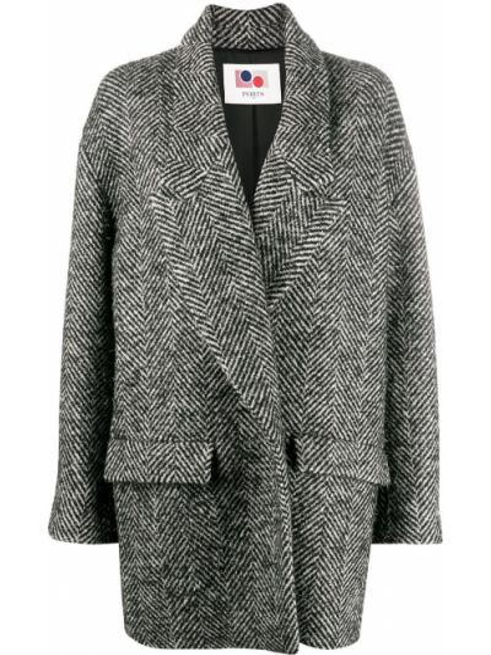 С рукавами серое пальто из альпаки с лацканами Ports 1961