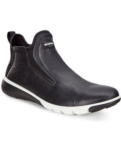 Высокие кроссовки на резинке черные Ecco