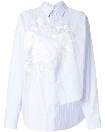 Классическая рубашка в полоску с цветочным принтом асимметричная Cédric Charlier