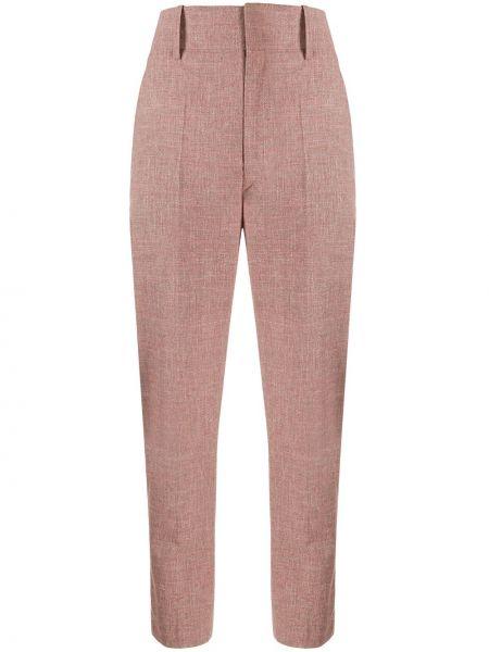 Зауженные розовые шерстяные брюки Isabel Marant Étoile