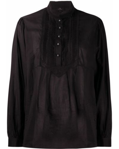 Шелковая с рукавами черная рубашка Etro