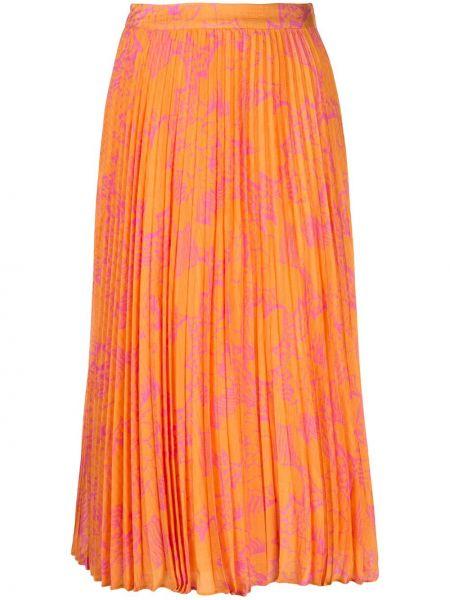 Оранжевая шелковая с завышенной талией юбка миди в рубчик Tanya Taylor