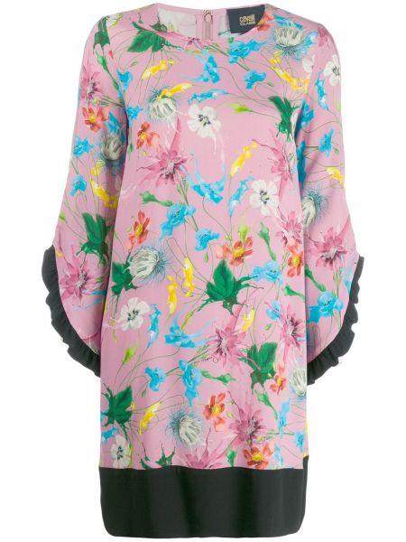 Розовое платье с рукавом 3/4 свободного кроя с вырезом Cavalli Class