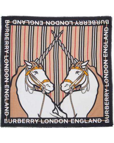 Beżowy bawełna jedwab szalik Burberry