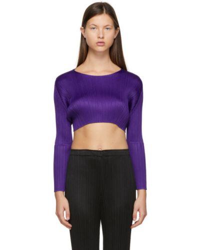 С рукавами фиолетовый длинный свитер с воротником Pleats Please Issey Miyake