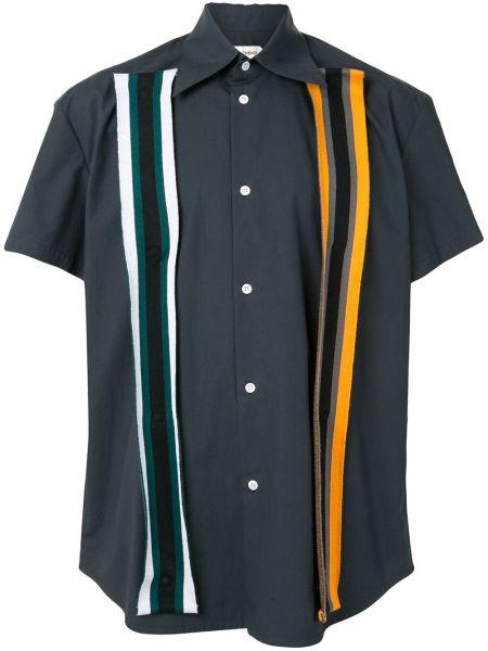 Синяя рубашка с короткими рукавами с воротником с нашивками на кнопках Namacheko