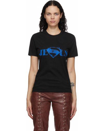 Czarny t-shirt bawełniany z printem Mowalola