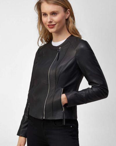 Asymetryczny czarny skórzany długa kurtka Orsay