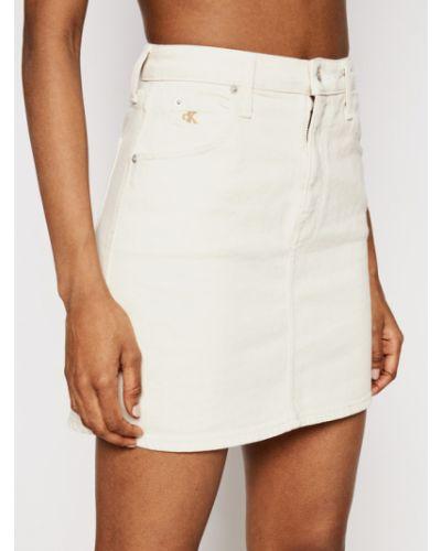 Spódnica jeansowa - beżowa Calvin Klein Jeans