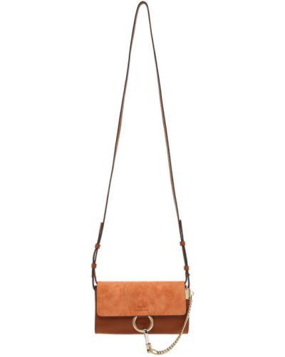 Z paskiem brązowy portfel wytłoczony Chloe