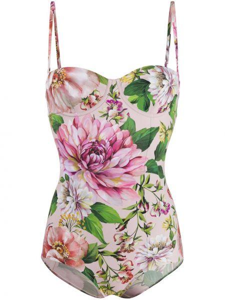 Пляжный розовый купальник с шортами Dolce & Gabbana