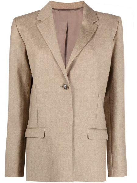 Шерстяной однобортный удлиненный пиджак на пуговицах Toteme