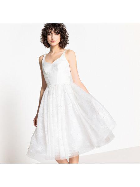 Платье миди с бисером на бретелях La Redoute Collections