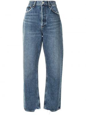 Bawełna niebieski klasyczny jeansy wysoki wzrost z kieszeniami Agolde