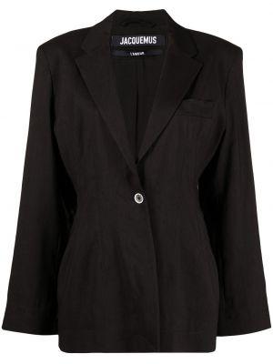 Шерстяной однобортный черный удлиненный пиджак Jacquemus