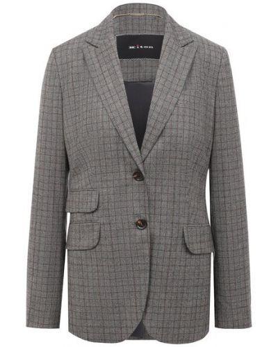 Серый шелковый деловой классический пиджак с подкладкой Kiton
