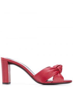 Красные кожаные мюли на каблуке Saint Laurent