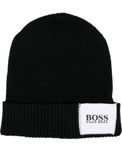 Шерстяная черная шапка бини с нашивками Boss Hugo Boss