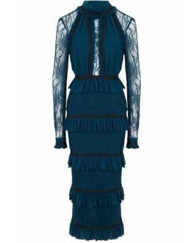 Шелковое платье миди - синее Laroom