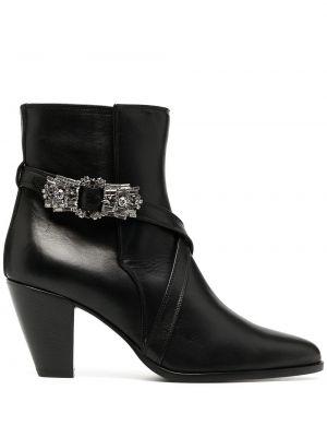 Кожаные черные пинетки на каблуке с пряжкой Giannico