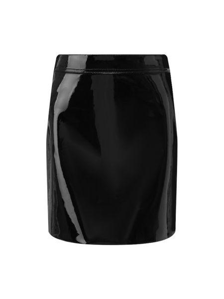 Кожаная юбка лаковая с принтом Saint Laurent