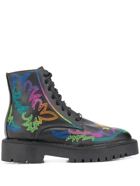 Черные ботинки милитари с вышивкой на шнуровке Jessie Western
