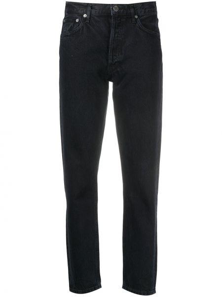 Czarny bawełna bawełna jeansy o prostym kroju z kieszeniami Agolde