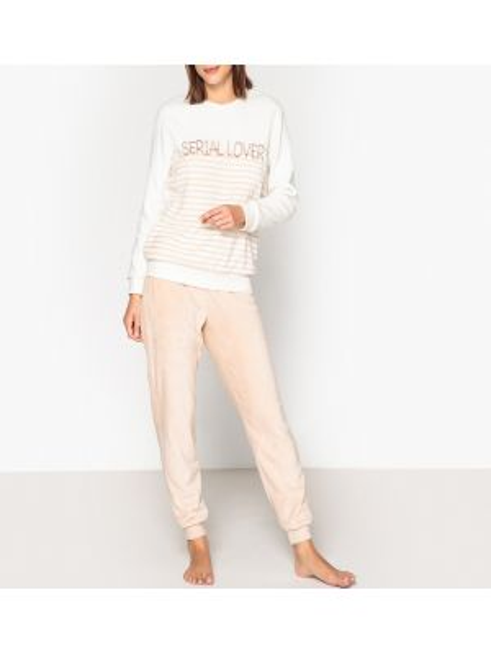 Пижама теплая в полоску La Redoute Collections