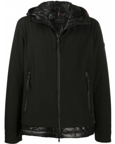 Z rękawami czarny płaszcz przeciwdeszczowy z kieszeniami od płaszcza przeciwdeszczowego Peuterey