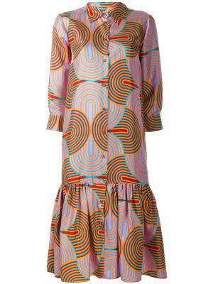 Платье миди с баской на пуговицах La Doublej