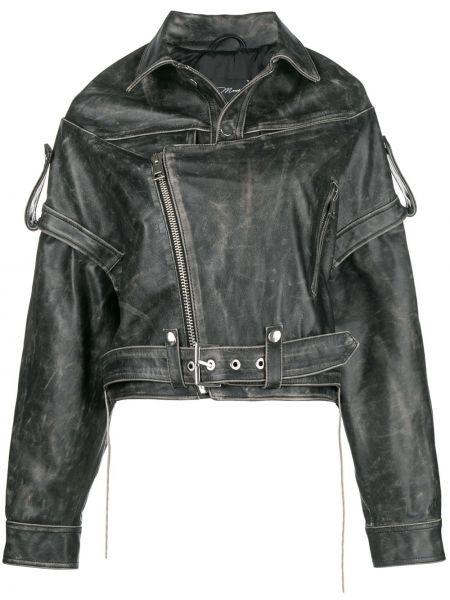 Кожаная куртка байкерская серая Manokhi
