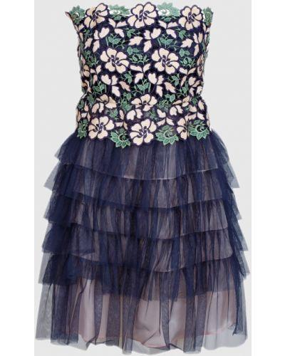 Кружевное синее платье мини Tresophie