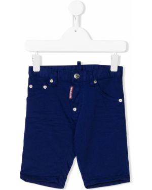 Кожаные синие джинсы Dsquared2 Kids