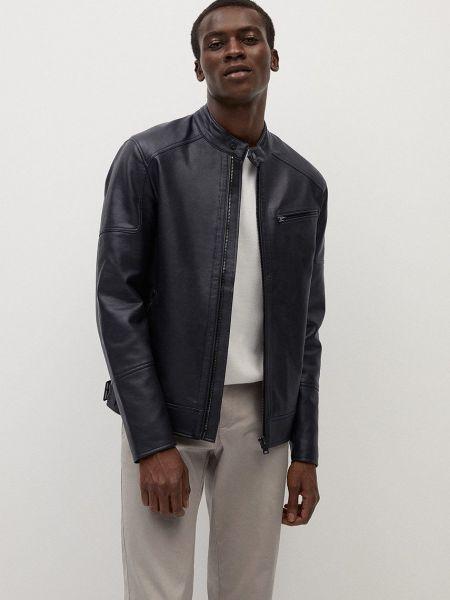 Синяя куртка на молнии с карманами Mango Man