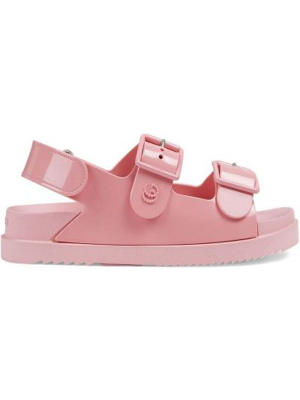 Sandały peep toe - różowe Gucci