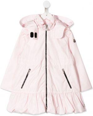 С рукавами розовое длинное пальто с капюшоном Moncler Kids