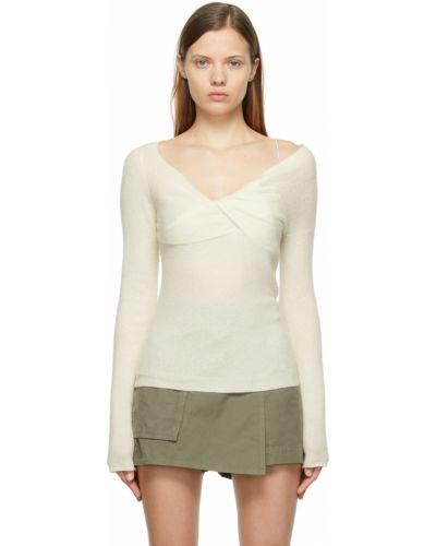 Sweter wełniany - biały Helmut Lang