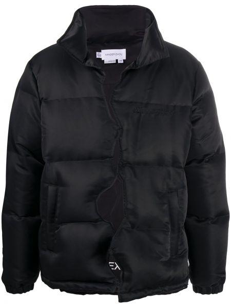Czarna długa kurtka z haftem z długimi rękawami Xander Zhou