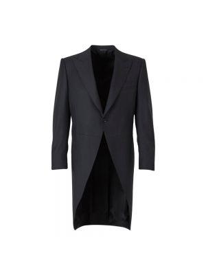 Czarny płaszcz wełniany Canali