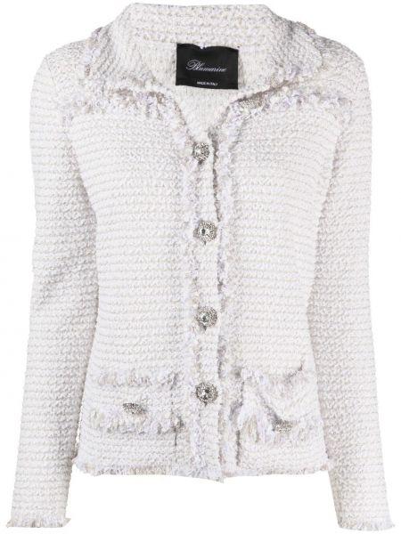 Белый удлиненный пиджак твидовый на пуговицах Blumarine