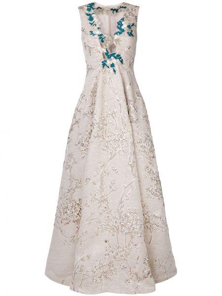 Шелковое платье - бежевое Talbot Runhof