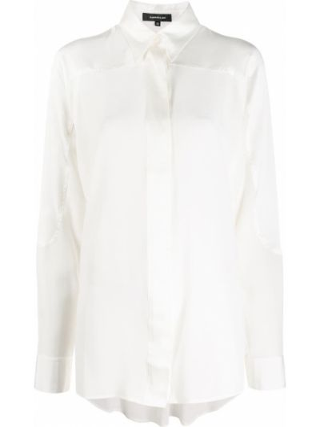 Biała koszula z długimi rękawami z jedwabiu Barbara Bui