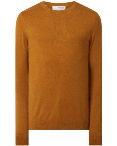 Sweter bawełniany - pomarańczowy Selected Homme