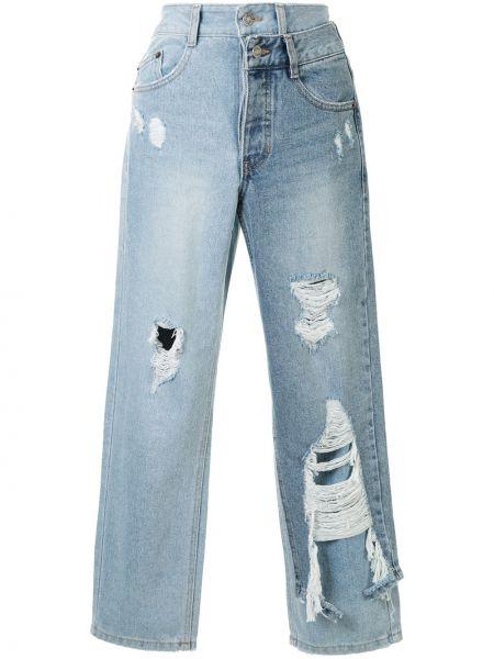 Хлопковые синие укороченные джинсы со вставками на молнии Sjyp