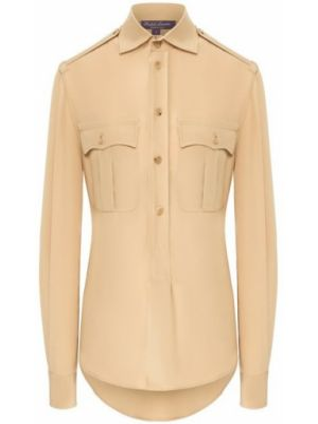 Мягкая шелковая бежевая рубашка милитари Ralph Lauren