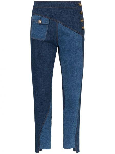 Синие джинсы-скинни с карманами пэчворк Rejina Pyo