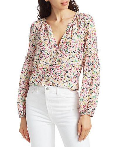 Бежевая шелковая блузка с длинными рукавами Tanya Taylor
